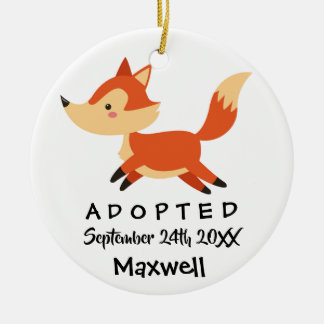 Adopted - Customized Fox Adoption Gift Ceramic Ornament