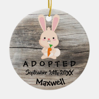 Adopted - Customized Pink Bunny Adoption Gift Ceramic Ornament