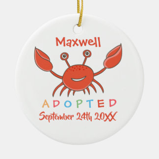 Adopted from Foster Care Crab - Custom Name Ceramic Ornament