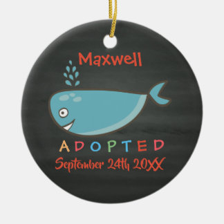 Adopted from Foster Care Whale - Custom Name Ceramic Ornament