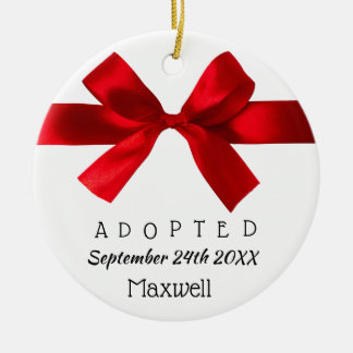 Adopted Red Ribbon - Custom Name, Date, & Photo Ceramic Ornament