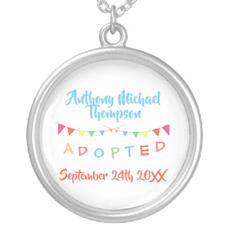 Adoption Design Custom Name Date Banners Silver Plated Necklace