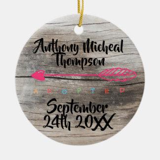 Adoption Design Custom Name Date Photo Ceramic Ornament