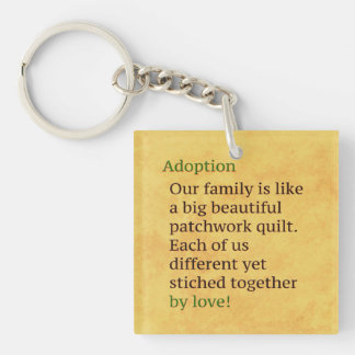 Adoption is a Patchwork Double-Sided Square Acrylic Key Ring