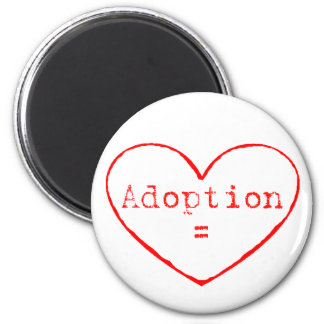 Adoption = Love in red 6 Cm Round Magnet