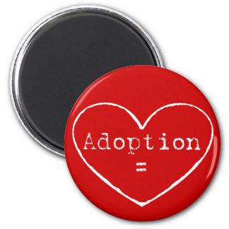 Adoption = love in white 6 cm round magnet