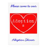 Adoption = Love White on Red Shower invitation