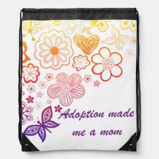 Adoption Made Me a Mom Drawstring Bag