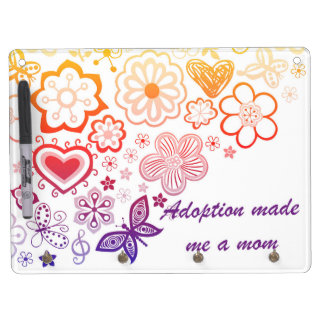 Adoption Made Me a Mom Dry Erase Board With Key Ring Holder