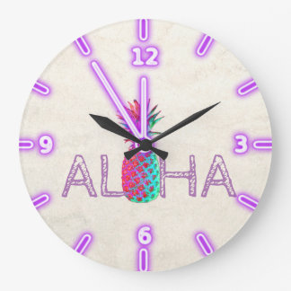 Adorable Aloha Hawaiian Pineapple Large Clock