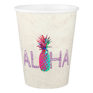 Adorable Aloha Hawaiian Pineapple Paper Cup