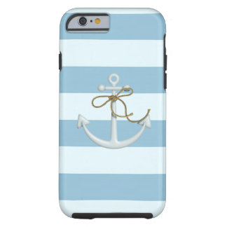 Adorable Anchor on Light Blue and White Stripes Tough iPhone 6 Case