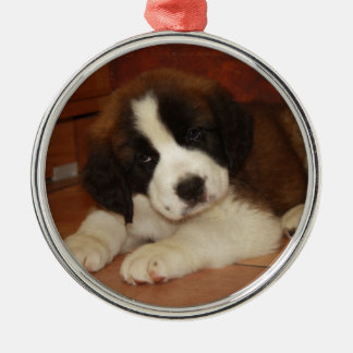 Adorable and Sweet St. Bernard Puppy Metal Ornament