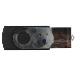 Adorable Arctic Wolf Swivel USB 2.0 Flash Drive