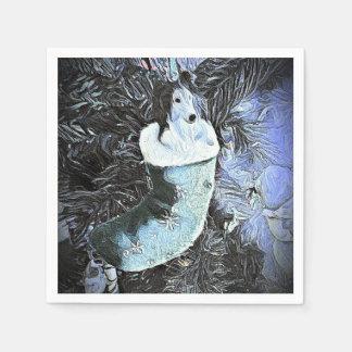 Adorable Artistic Sheltie In Festive Stocking Disposable Napkins