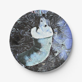 Adorable Artistic Sheltie In Festive Stocking Paper Plate