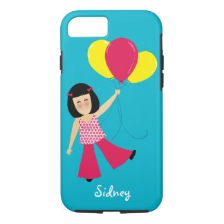 Adorable Asian Girl and Balloons Add a Name iPhone 7 Case