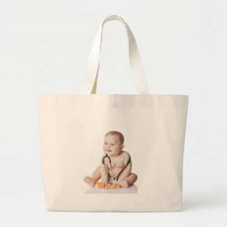 Adorable baby boy on white tote bag