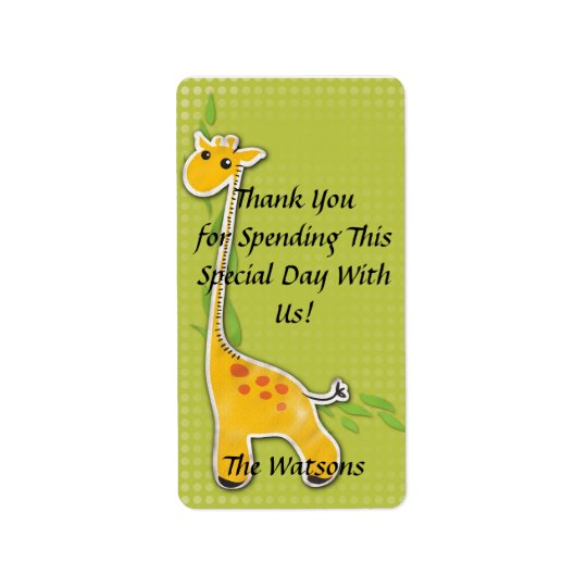 adorable baby giraffe party favour thank you label