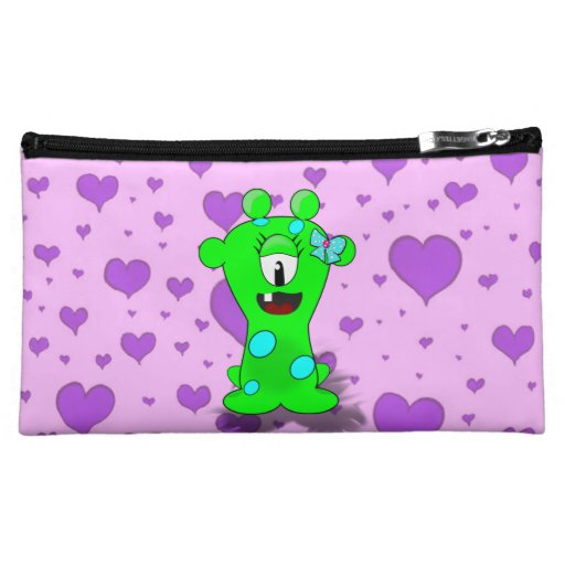 Adorable Baby Green Monster On Hearts Background Cosmetics Bags