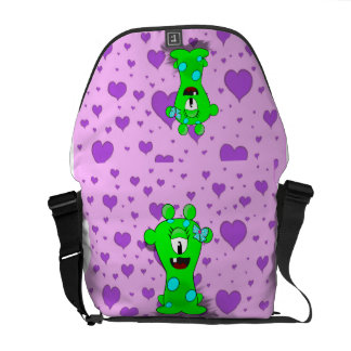 Adorable Baby Green Monster On Hearts Background Commuter Bag