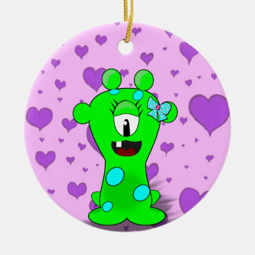 Adorable Baby Green Monster On Hearts Background Christmas Tree Ornament