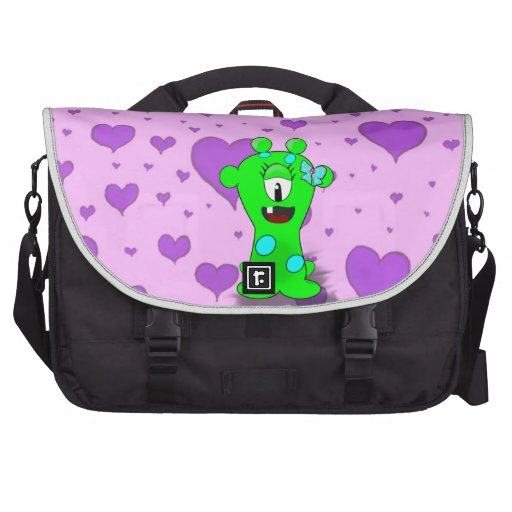 Adorable Baby Green Monster On Hearts Background Computer Bag