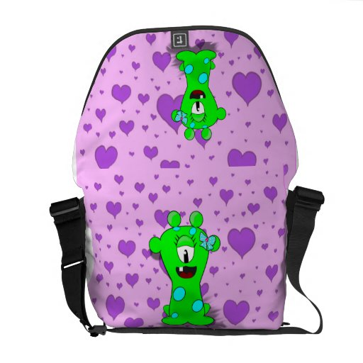 Adorable Baby Green Monster On Hearts Background Courier Bags