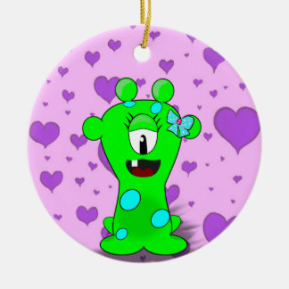 Adorable Baby Green Monster On Hearts Background Round Ceramic Decoration