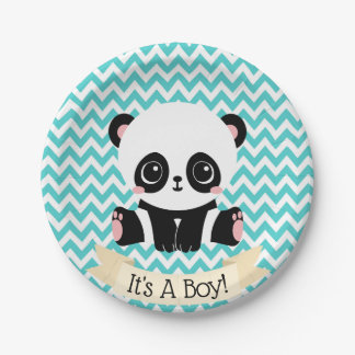 Adorable Baby Panda Blue Baby Shower Paper Plates