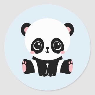Adorable Baby Panda On Blue Stickers (6 Stickers)