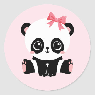 Adorable Baby Panda On Pink Stickers (6 Stickers)