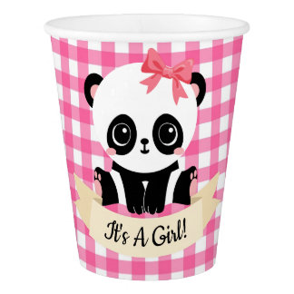 Adorable Baby Panda Pink Baby Shower Paper Cups