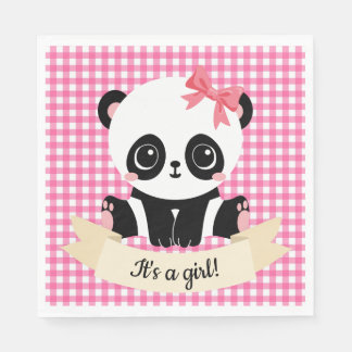 Adorable Baby Panda Pink Baby Shower Paper Napkins