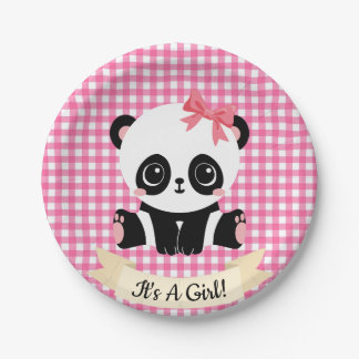 Adorable Baby Panda Pink Baby Shower Paper Plates