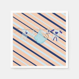 Adorable Baby Shower Blue and Orange Its a Boy Disposable Serviette
