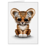 Adorable Baby Tiger Cub on White Greeting Card