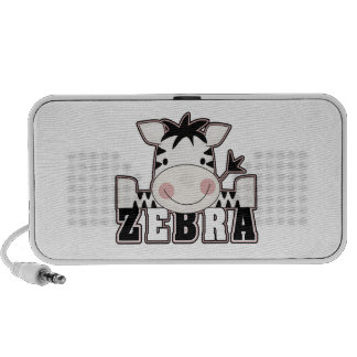 adorable baby zebra leaning with text travelling speaker