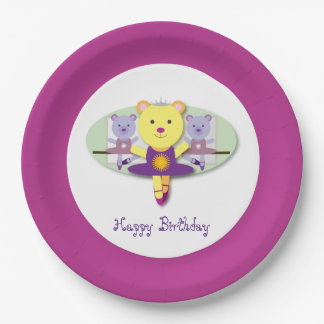 Adorable Ballerina Bear Ballet Dancer Cartoon Paper Plate