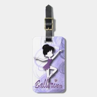 Adorable Ballerina Dancer | DIY Text | Purple Luggage Tag