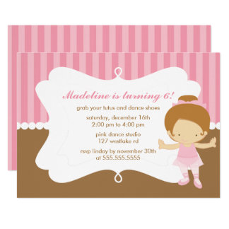 Adorable Ballet Themed Girls Birthday Party Card