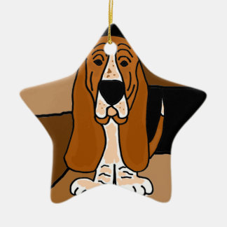 Adorable Basset Hound Dog Art Abstract Ceramic Ornament