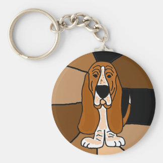Adorable Basset Hound Dog Art Abstract Key Ring