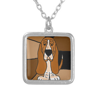 Adorable Basset Hound Dog Art Abstract Silver Plated Necklace