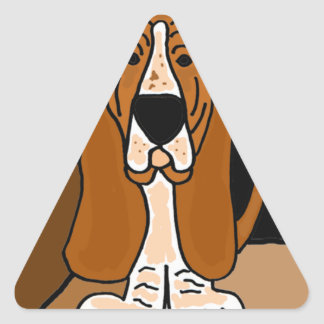 Adorable Basset Hound Dog Art Abstract Triangle Sticker