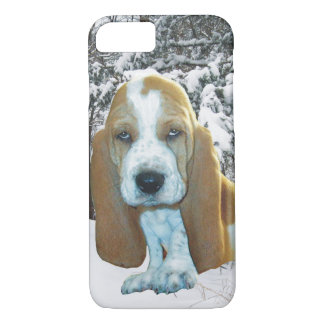Adorable Basset Hound Puppy Snowy Woods iPhone 7 Case