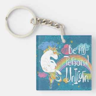 Adorable Be My Personal Unicorn Keychain