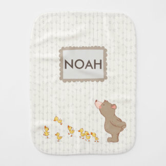 Adorable bear and duck Neutral Name Burp Cloth
