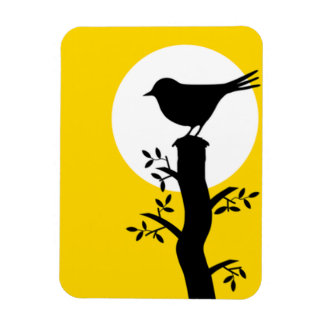 Adorable Black Bird on the Branch Magnet