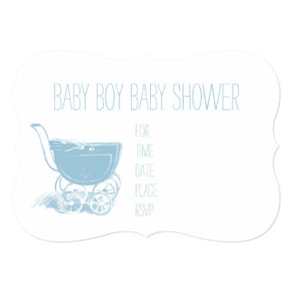 Adorable Blue Baby Boy Carriage Retro Baby Shower Card